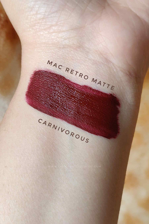 MAC Retro Matte Liquid Lipstick Carnivorous - Review and Swatches
