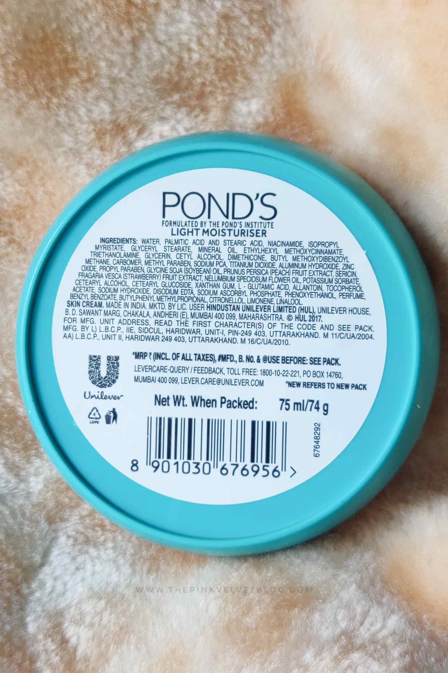 Ponds Light Moisturizer Ingredients Review