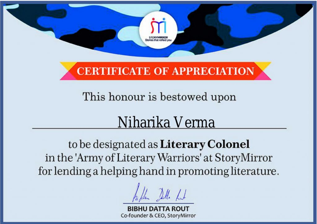 Certficate by Story Mirror for Niharika Verma The Pink Velvet Blog
