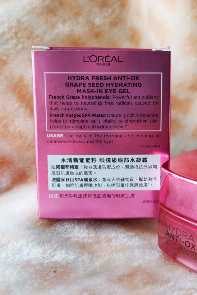 Loreal Hydrafresh Anti-Ox Grape Seed Hydrating Mask-In Eye Gel Review