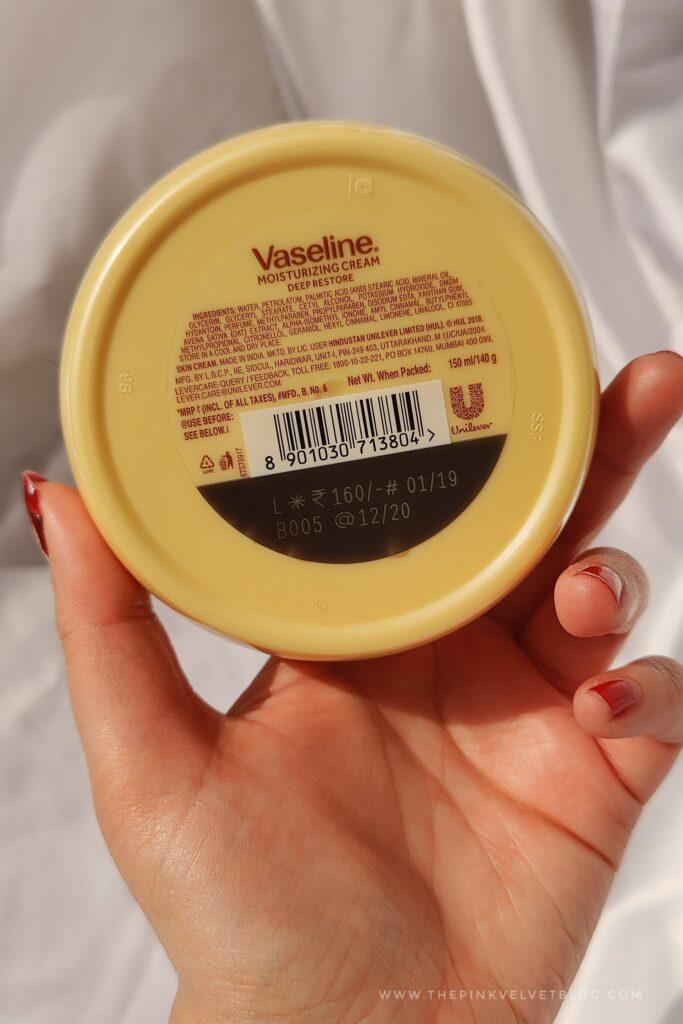 Vaseline Deep Restore Moisturizing Cream Review Ingredients