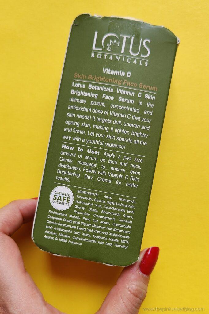 Lotus Botanicals Vitamin C Serum Review Ingredients